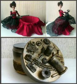 Кукла-шкатулка и шкатулка в стиле стимпанк