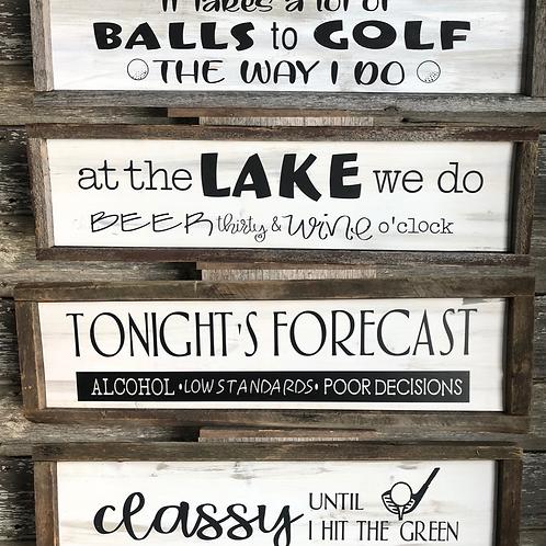 Barnboard framed Golf & Lake Signs