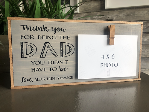 Step Dad Personalized Framed sign w/Photo Clip