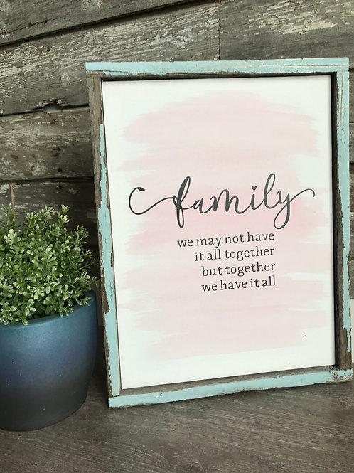Spring Colour Family Barnboard Framed Sign