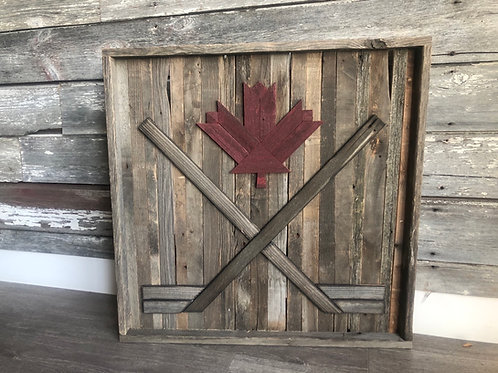 Barnboard Canadian Hockey Sign