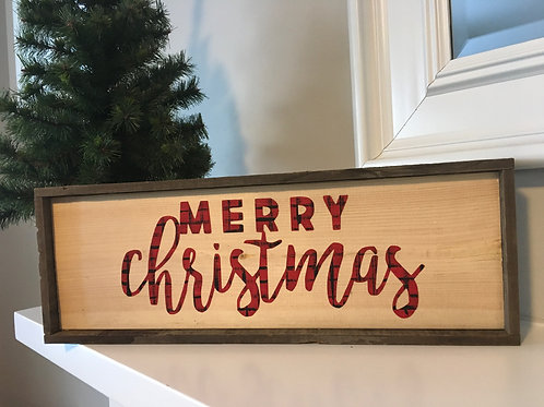 Barnboard Framed Wooden painted Christmas signs