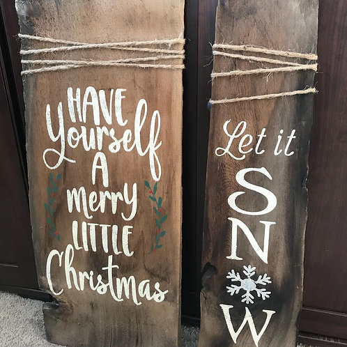 Rustic winter barnboard signs