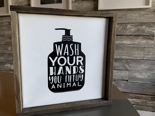 Bathroom Signs Barnboard Framed