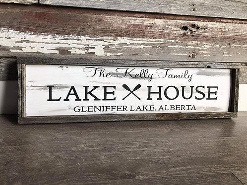 Rustic Lake House Barnboard Framed Family Sign