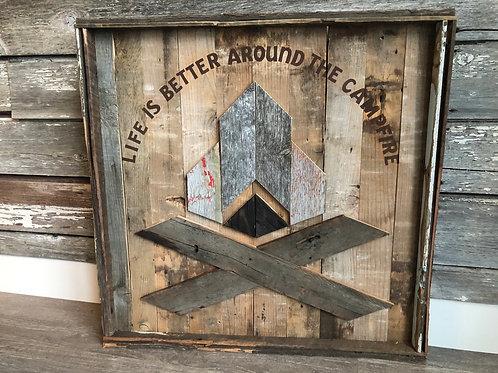 Barnboard Campfire Sign