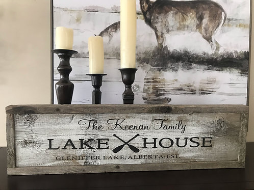 Rustic Lake House Barnboard Family Sign