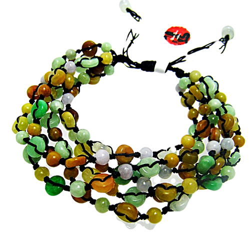 Tri-colored Prosperity Jadeite Bracelet