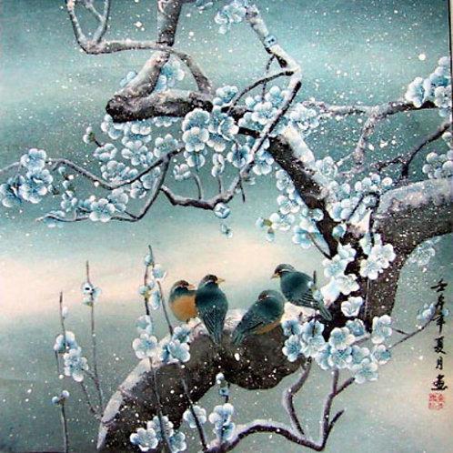 Birds on Plum Blossom Tree in Snow
