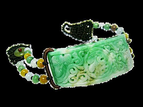 Green Jadeite Half Bangle Bracelet