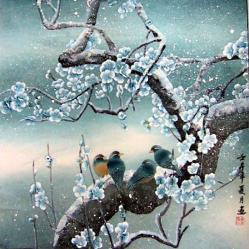 Birds in Snow Plum Blossom
