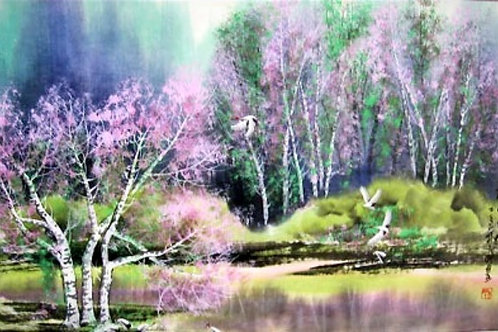 Cherry Blossom and White Cranes by Riverbank