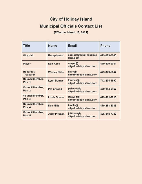 Town of Holiday Island Contact List_2021