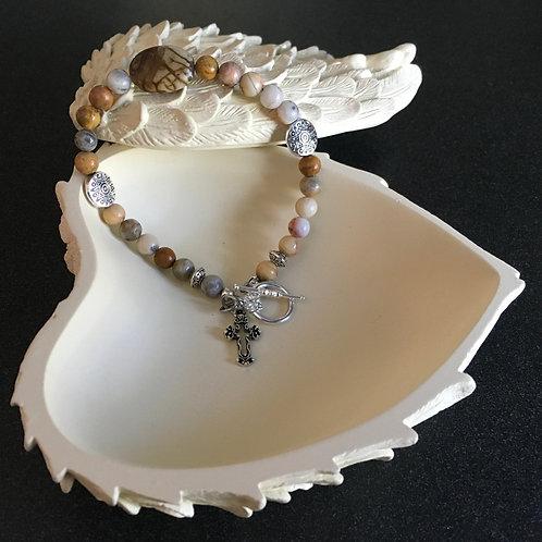 Crazy Laze Agate and Cross Bracelet