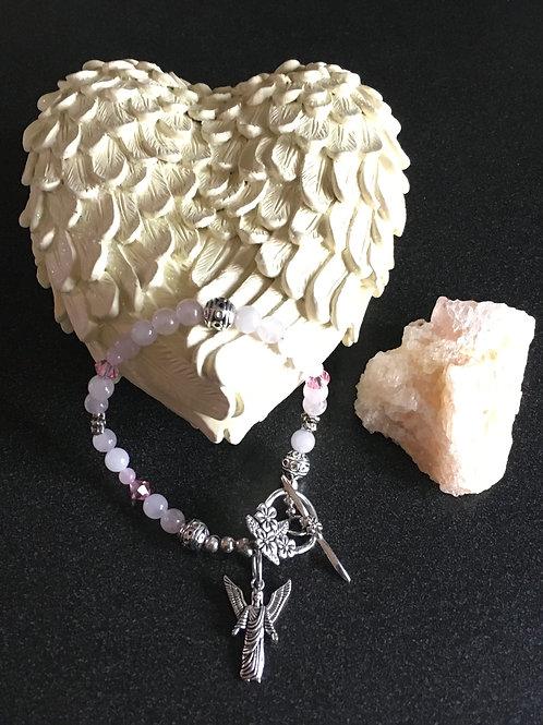 Rose Quartz Bracelet with Swarovski Crystals and Angel Charm