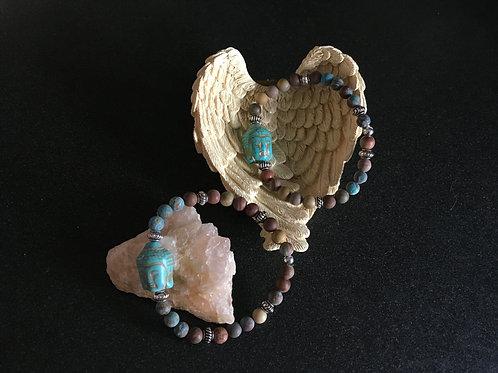 Matte Jasper Beads, Crazy Agate Lace Bead with Buddah Pendant Stretch Bracelet