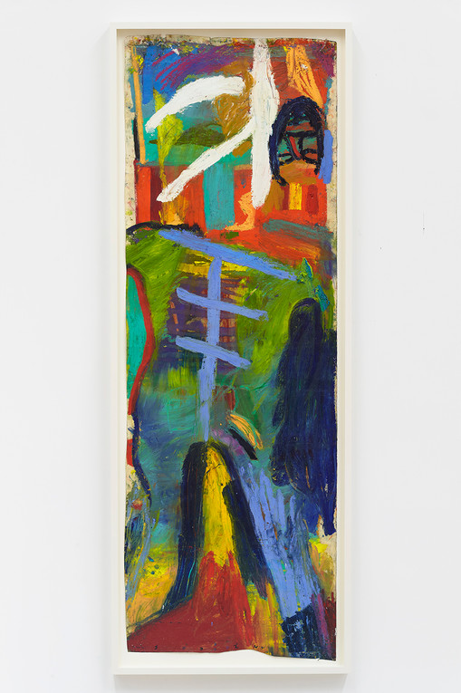 Spencer Sweeney Self-portrait Head Inversion, 2020Oil pastel on paper67 x 23 inches70 x 26.25 inches (framed)