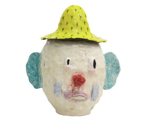 Yellow hat, red button nose, 2017 Glazed ceramic  8.5 x 8 x 10.5 inches
