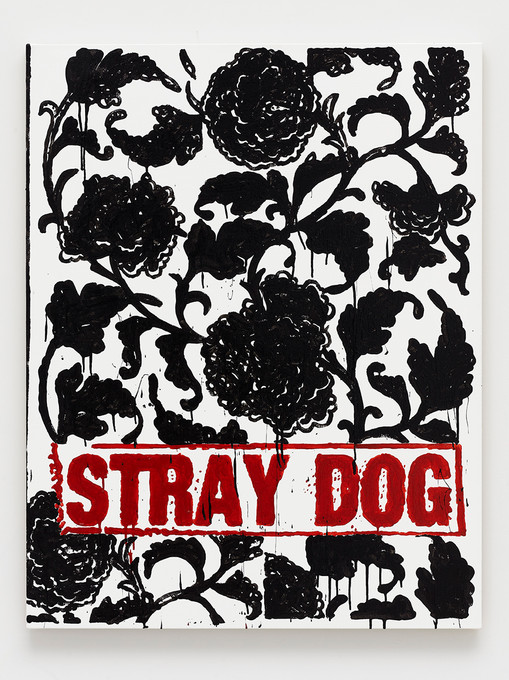 B. Thom Stevenson  Stray Dog, 2021  Acrylic and enamel on canvas  40 x 31 inches