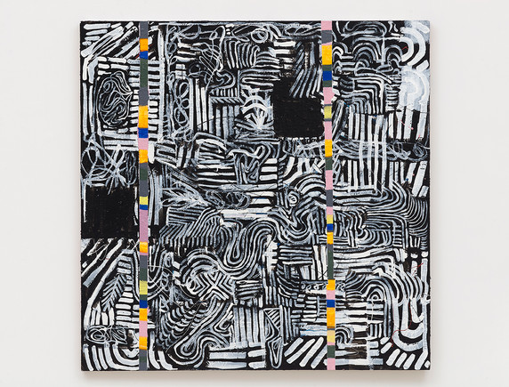 Pam Glick  Untitled, 2021  Acrylic, enamel and graphite on canvas  48 x 48 inches