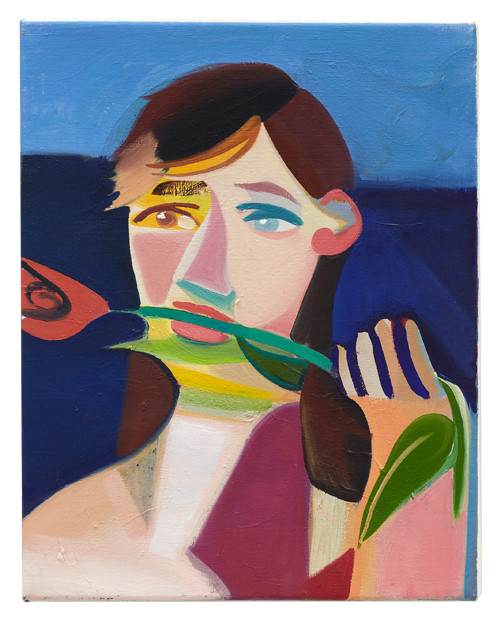 Girl with Rose, 2017 Acrylic on canvas 15 x 19 inches