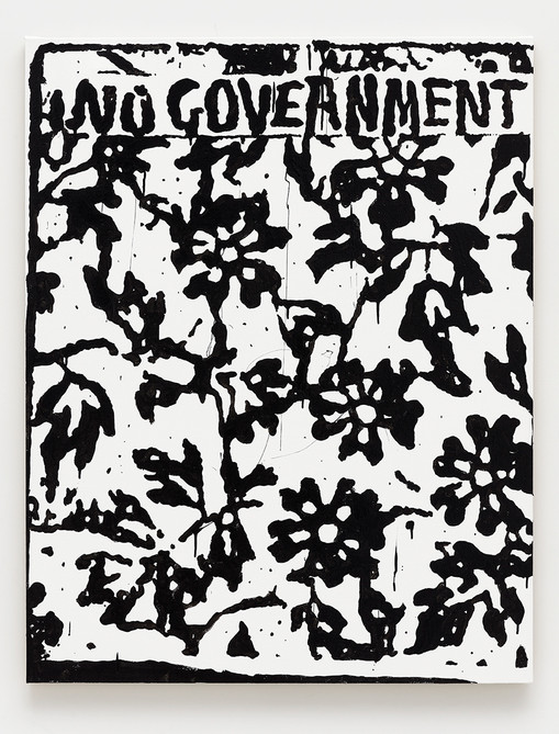 B. Thom Stevenson  No Government, 2021  Acrylic and enamel on canvas  40 x 31 inches