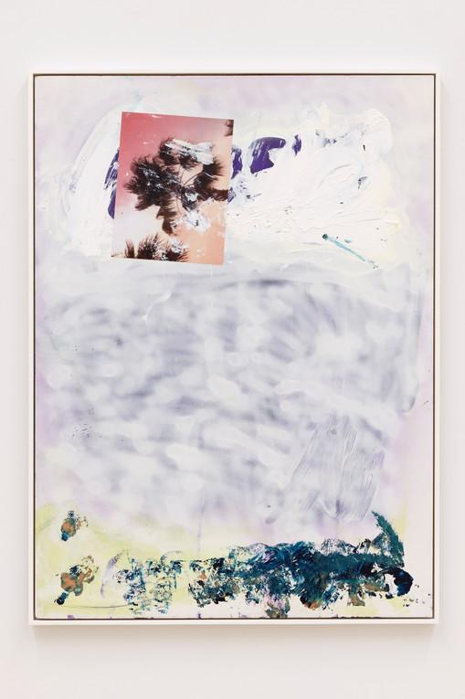 Leo Gabin  Untitled, 2019   Acrylic, silkscreen and collage on PVC board  40 1/2 x 29 1/2 inches
