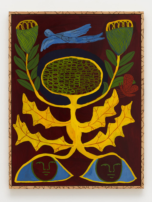 Emma Kohlmann  Emblem flower for your health, 2021  Acrylic on linen in artist frame  48 x 36 inches  50 x 37 3/4 x 2 1/8 inches (framed)