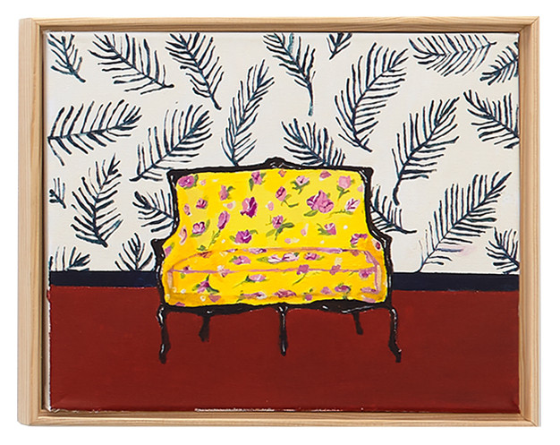 Yellow Floral Sofa, 2016 – 2017 Acrylic on canvas 11 x 14 inches
