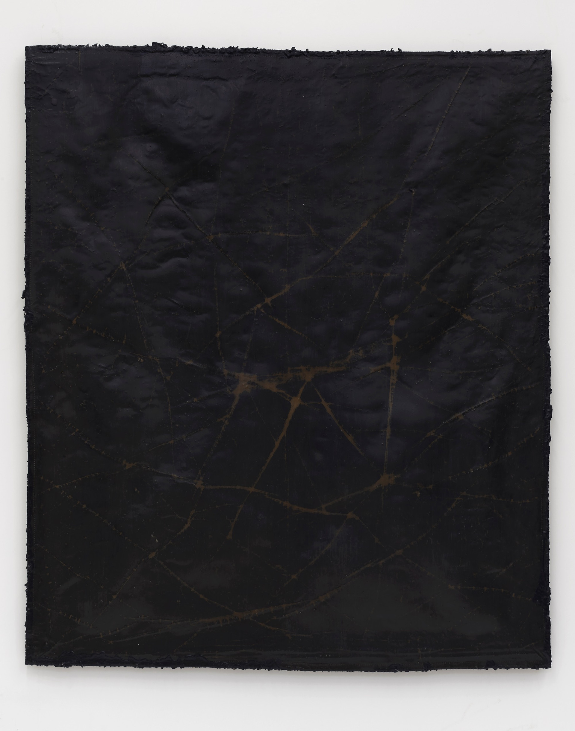 Helmut Lang  network #5, 2019 Cotton, wax, resin, and tar on canvas 62 1/2 x 53 x 1 1/2 inches