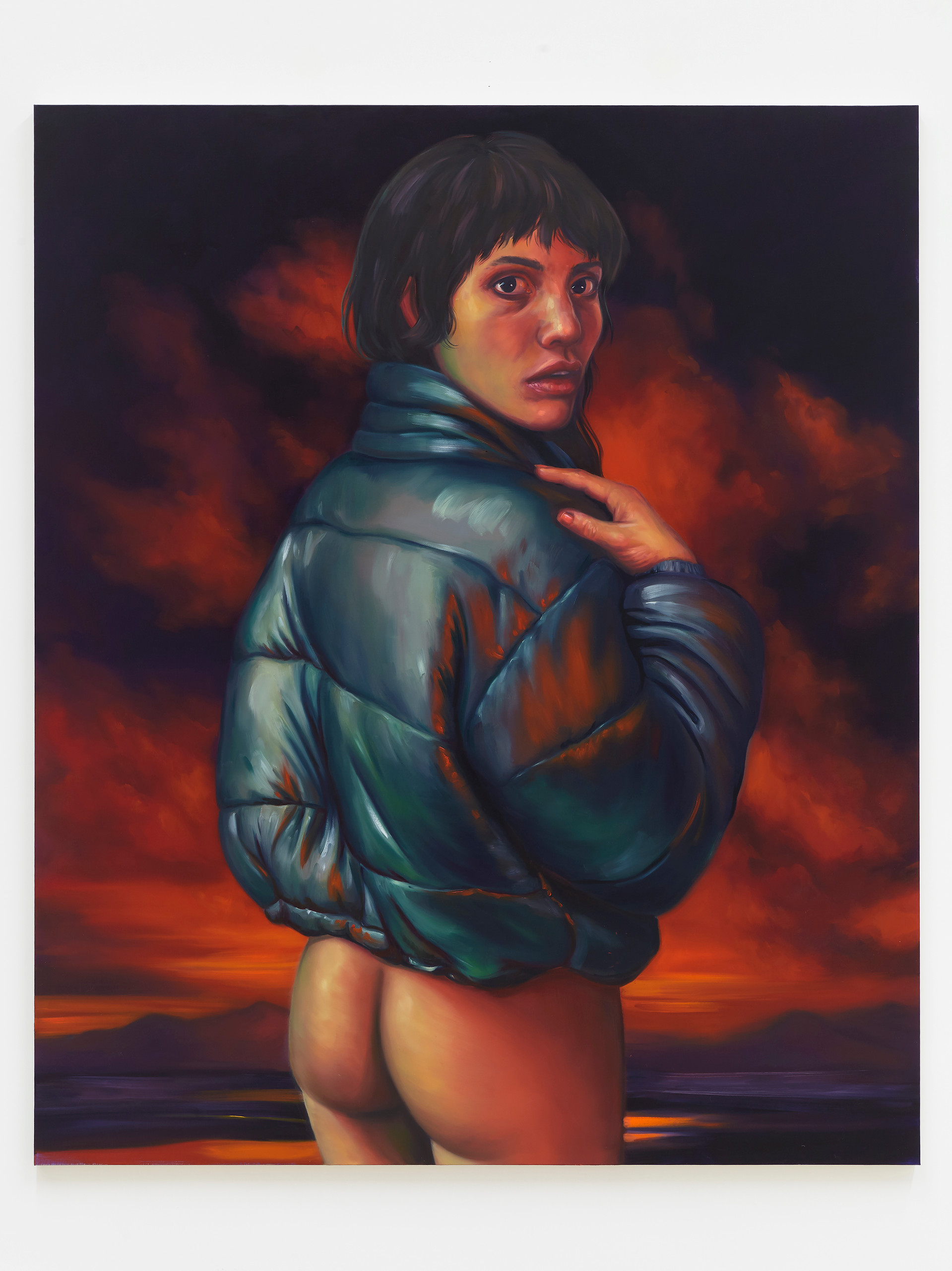 Chloe Wise  A chance not to relax, 2019  Oil on linen  72 x 60 inches