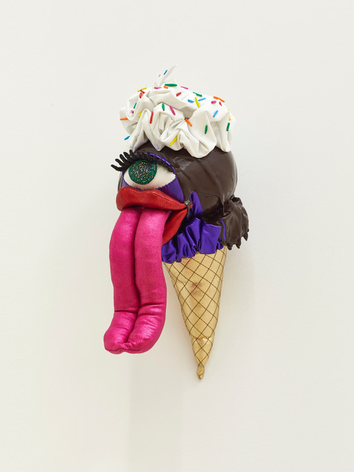 Grape with Chocolate Sauce, Whipped Cream, and Rainbow Sprinkles, 2019 Acrylic, felt, fiberfill, glitter, modeling clay, spandex, string, wire, and vinyl 11 x 5.5 x 9 inches