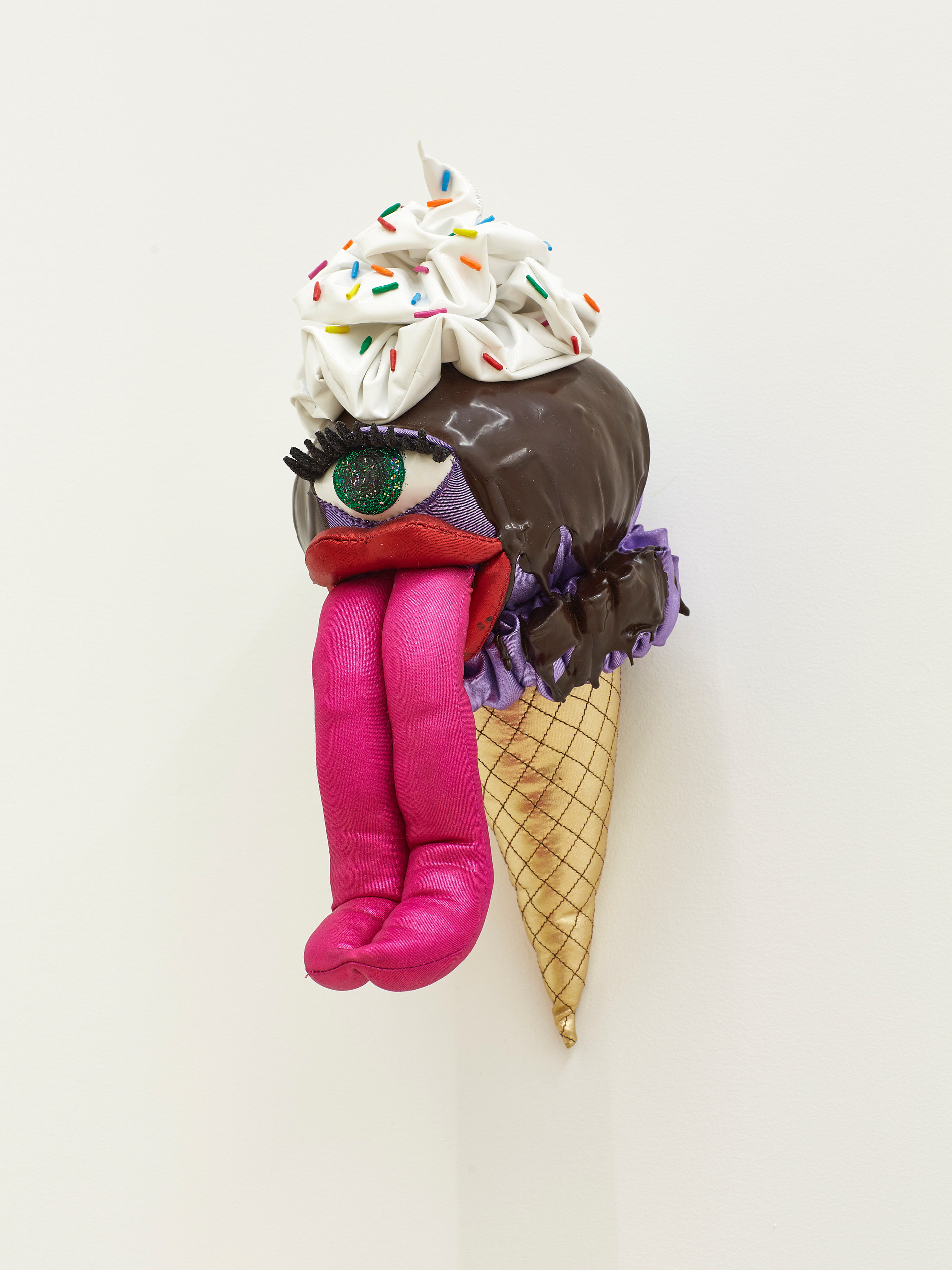 Lavender with Chocolate Sauce, Whipped Cream, and Rainbow Sprinkles, 2019 Acrylic, felt, fiberfill, glitter, modeling clay, spandex, string, wire, and vinyl 11 x 5.5 x 9 inches