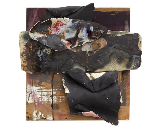 Social Amnesia, 2017 Ceramic on wood 18 x 9 x 1 1/2 inches