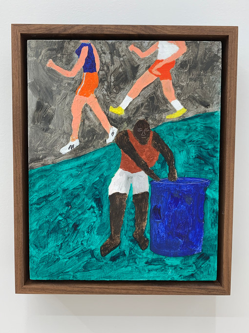 Marcus Leslie Singleton    Collecting Bottles, 2020   Oil on panel   10 x 8 inches  11 x 9 x 2.5 inches (framed)