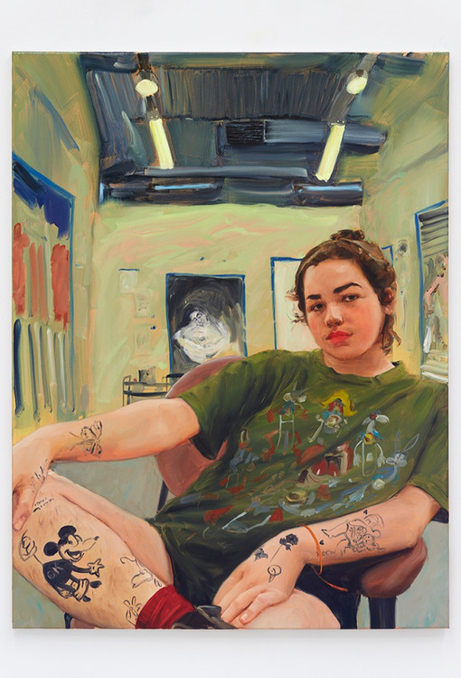 Jenna Gribbon  The Artist Eroticized (Alina), 2020  Oil on linen  48 x 36 inches