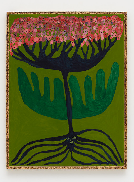 Emma Kohlmann  Growth spurt with millions of mothers, 2021  Acrylic on linen in artist frame  48 x 36 inches  50 x 37 3/4 x 2 1/8 inches (framed)