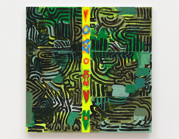Pam Glick  Untitled, 2021  Acrylic and enamel on canvas  30 x 30 inches