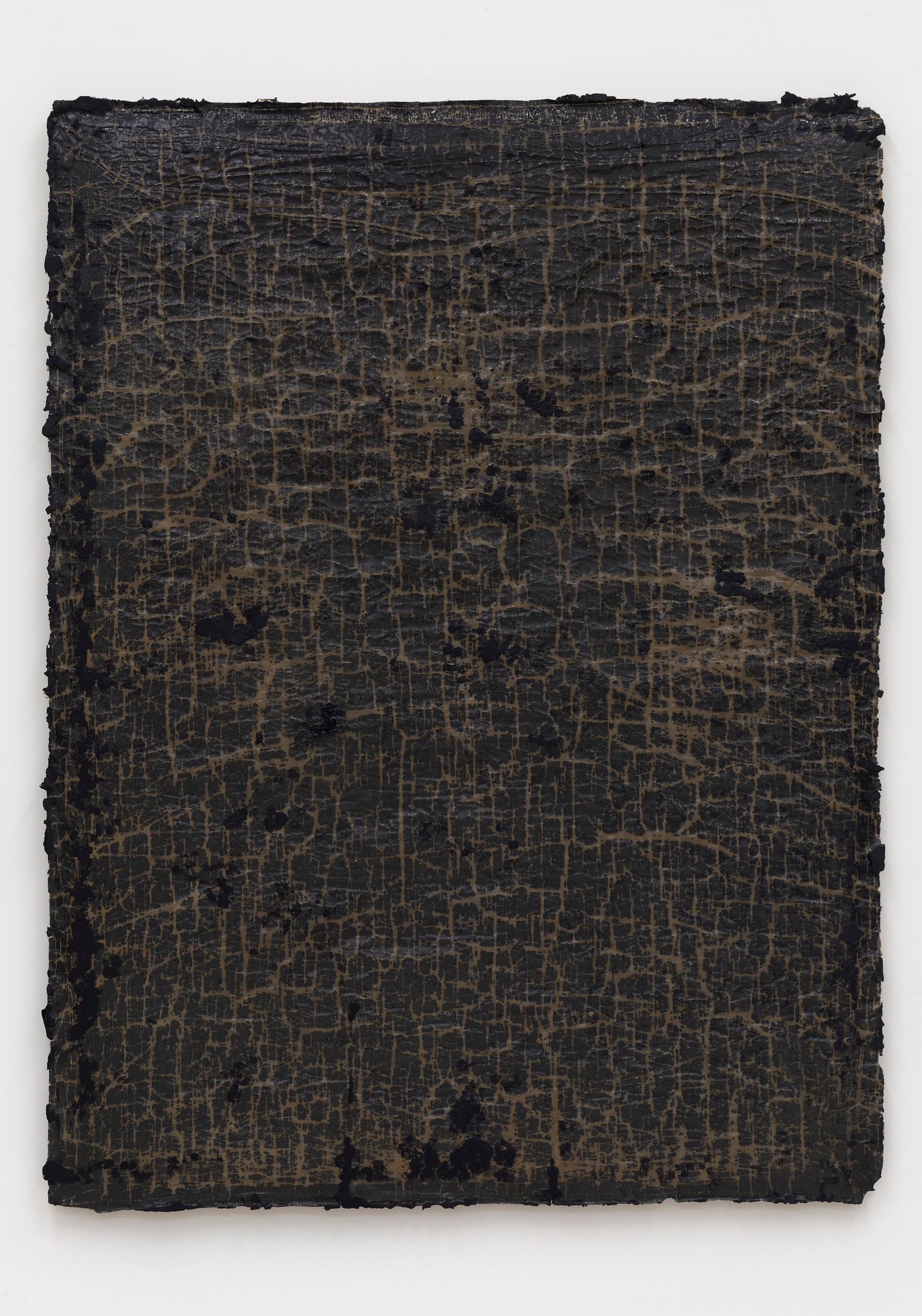 Helmut Lang  network #1, 2018  Cotton, wax, resin, and tar on canvas  68 1/2 x 52 x 1 1/2 inches