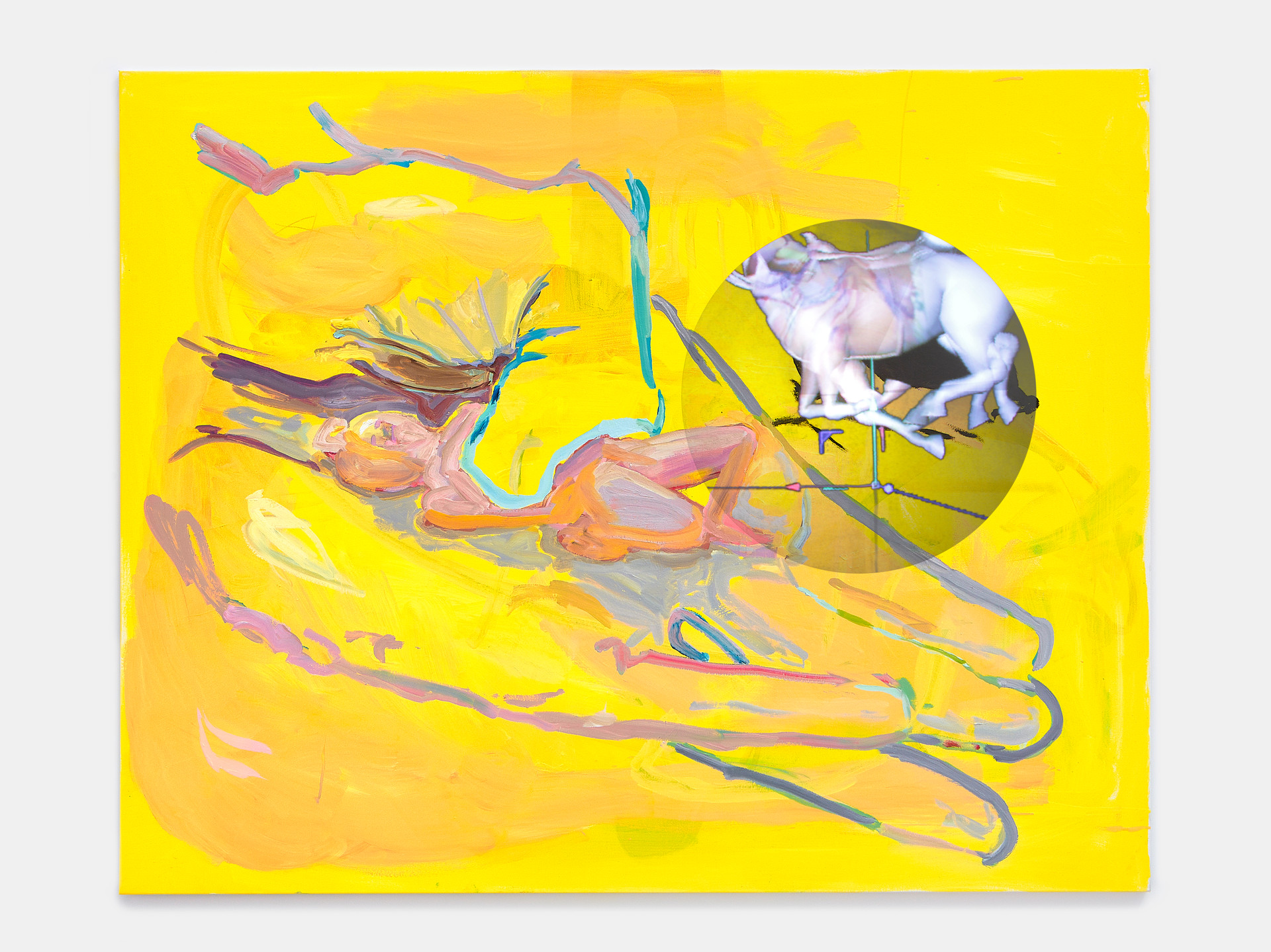 Ghost of the Flea, 2019  Oil on canvas, and video on holographic fan  60 x 48 inches