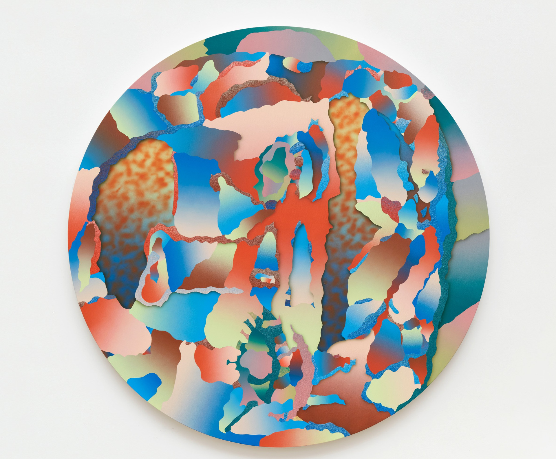 Morgan Blair  I Don't Know Man, I'm Just Telling You What Linda Crimini the Cruise Director Told Me, and I'm Inclined to Believe Any Cruise Director With a PhD in Nuclear Psychology Who Suggests I Do Exactly What I Want at All Times., 2019  Acrylic and sand on canvas  50 x 50 inches