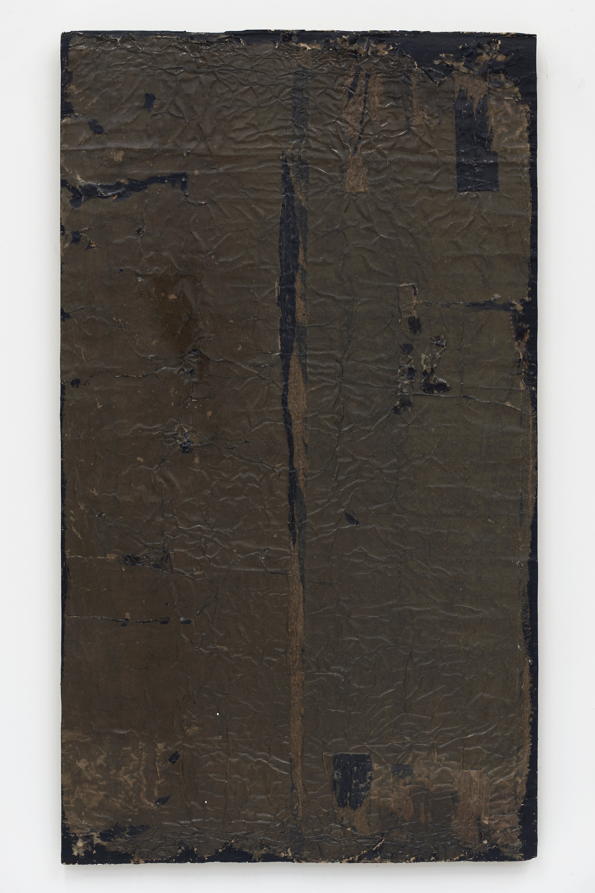 Helmut Lang  network #0, 2017 Paper, tar, and resin on canvas 58 1/2 x 33 1/4 x 1 1/4 inches