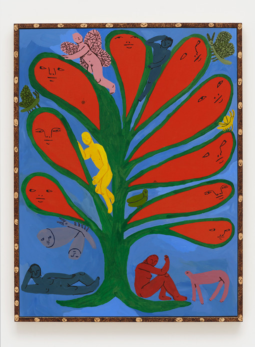 Emma Kohlmann  Tree of life, 2021  Acrylic on linen in artist frame  48 x 36 inches  50 x 37 3/4 x 2 1/8 inches (framed)