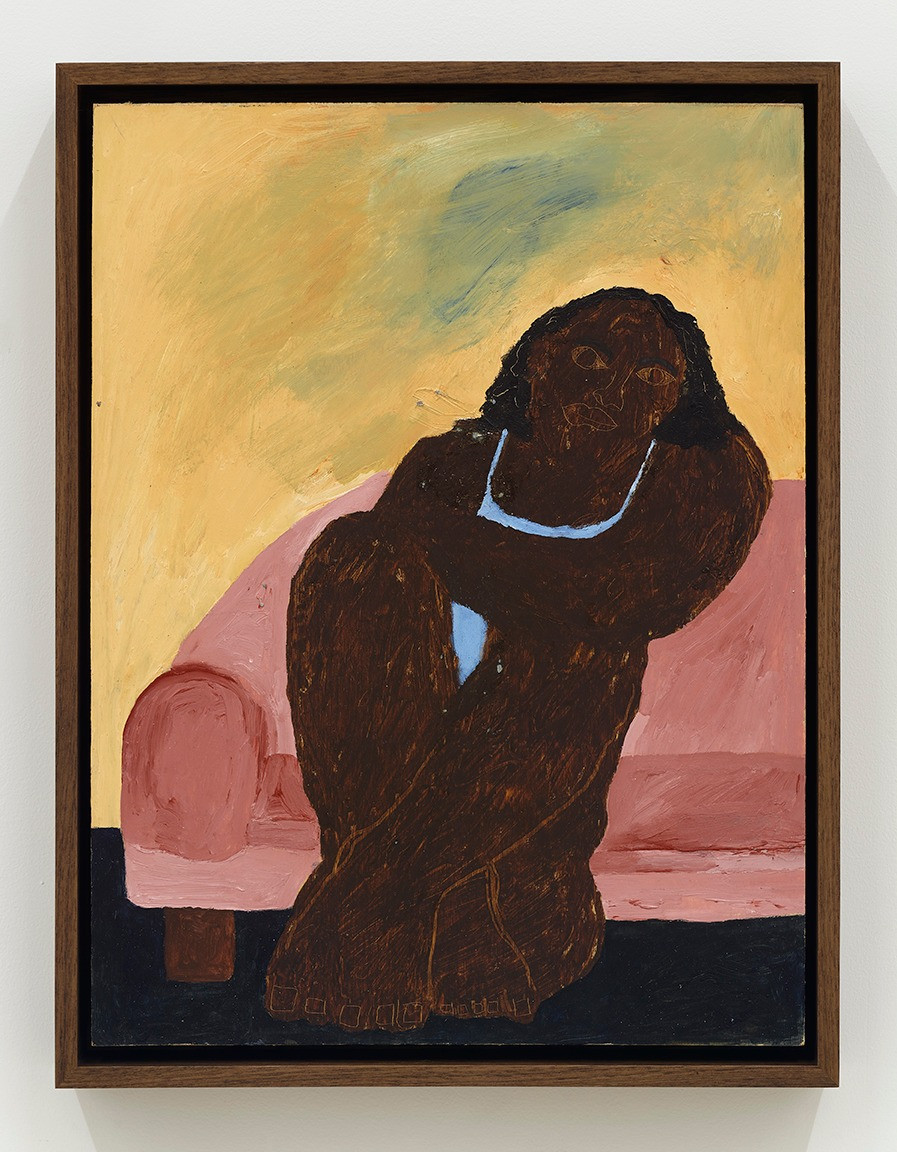 Marcus Leslie Singleton  Woman Up Late Thinking, 2020  Acrylic and oil stick on panel  16 x 12 inches   17.25 x 14.25 x 2.5 inches (framed)