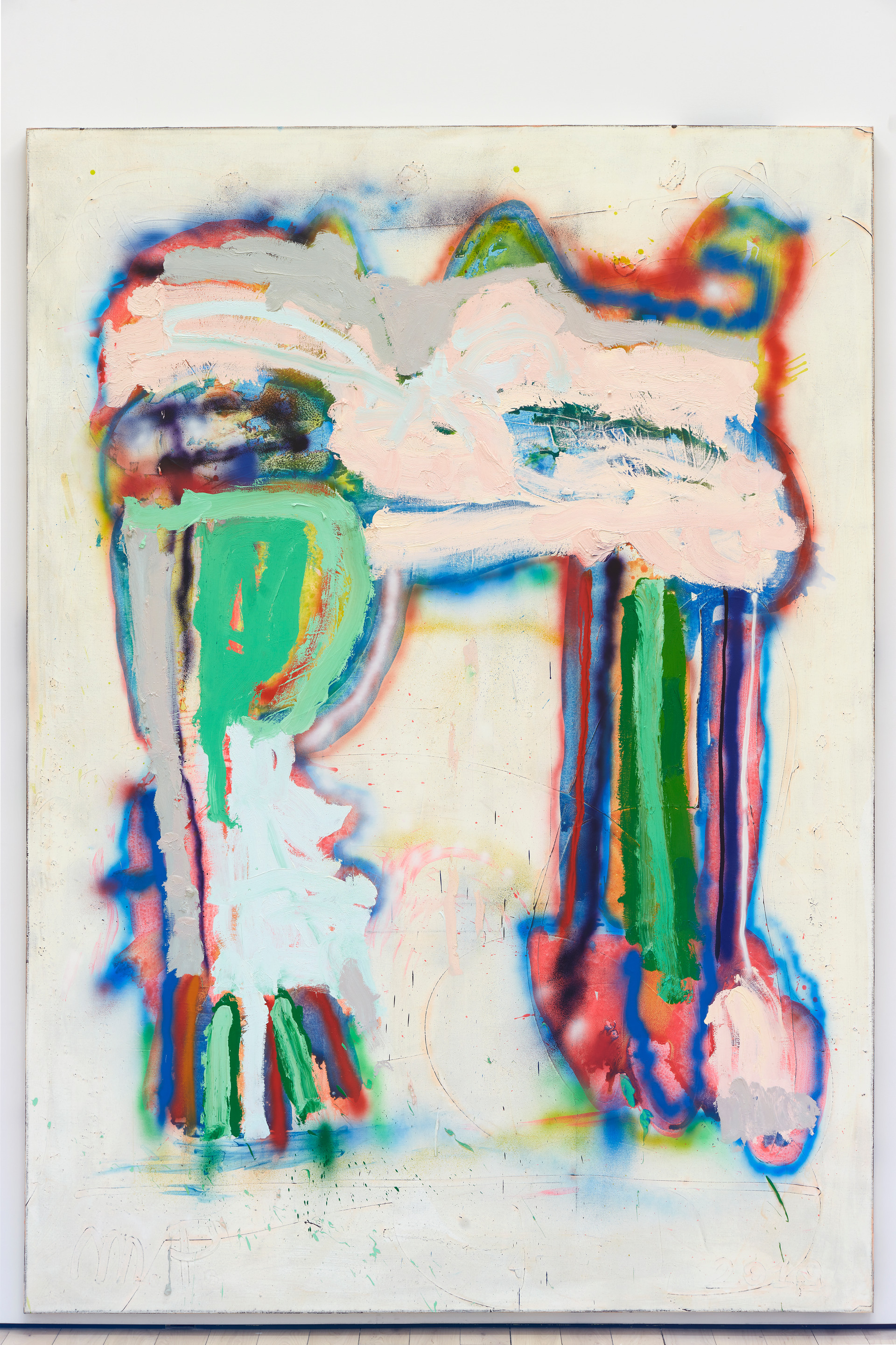 Marco Pariani  Sometimes Legs, 2020  Oil, acrylic and spray paint on canvas  72 x 100 inches