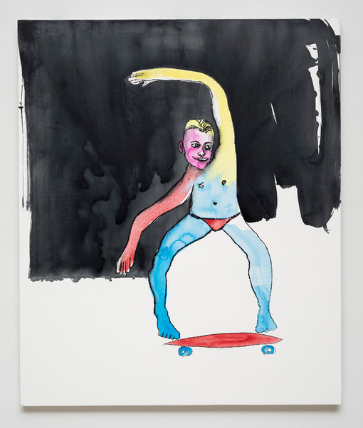 Dan McCarthy  Long Beach Skater, 2019  Silkscreen ink, acrylic and gesso on canvas  36 x 30 inches