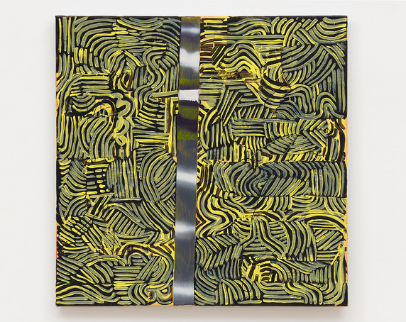Pam Glick  Untitled, 2021  Enamel, acrylic and graphite on canvas  24 x 24 inches