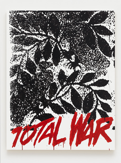 B. Thom Stevenson  Total War, 2021  Acrylic and enamel on canvas  40 x 31 inches