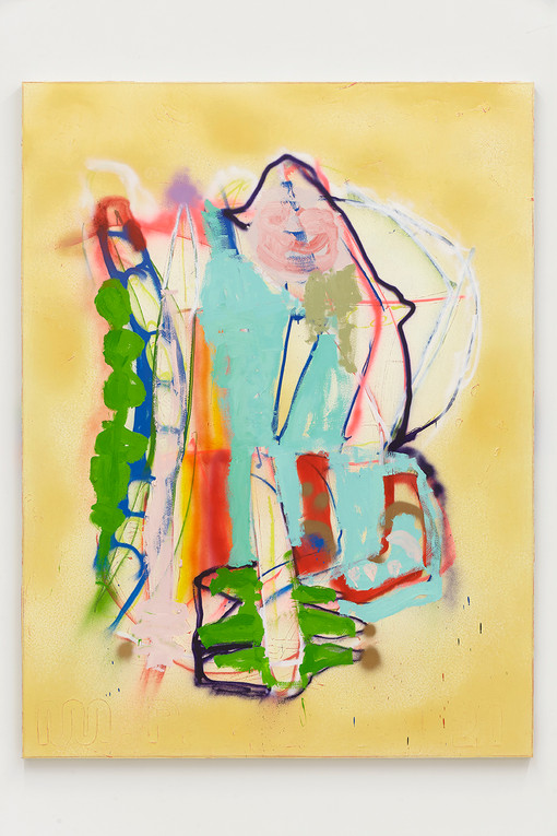 Marco Pariani  Felt Puppet, 2021  Oil, acrylic and enamel on canvas  78 x 59 inches
