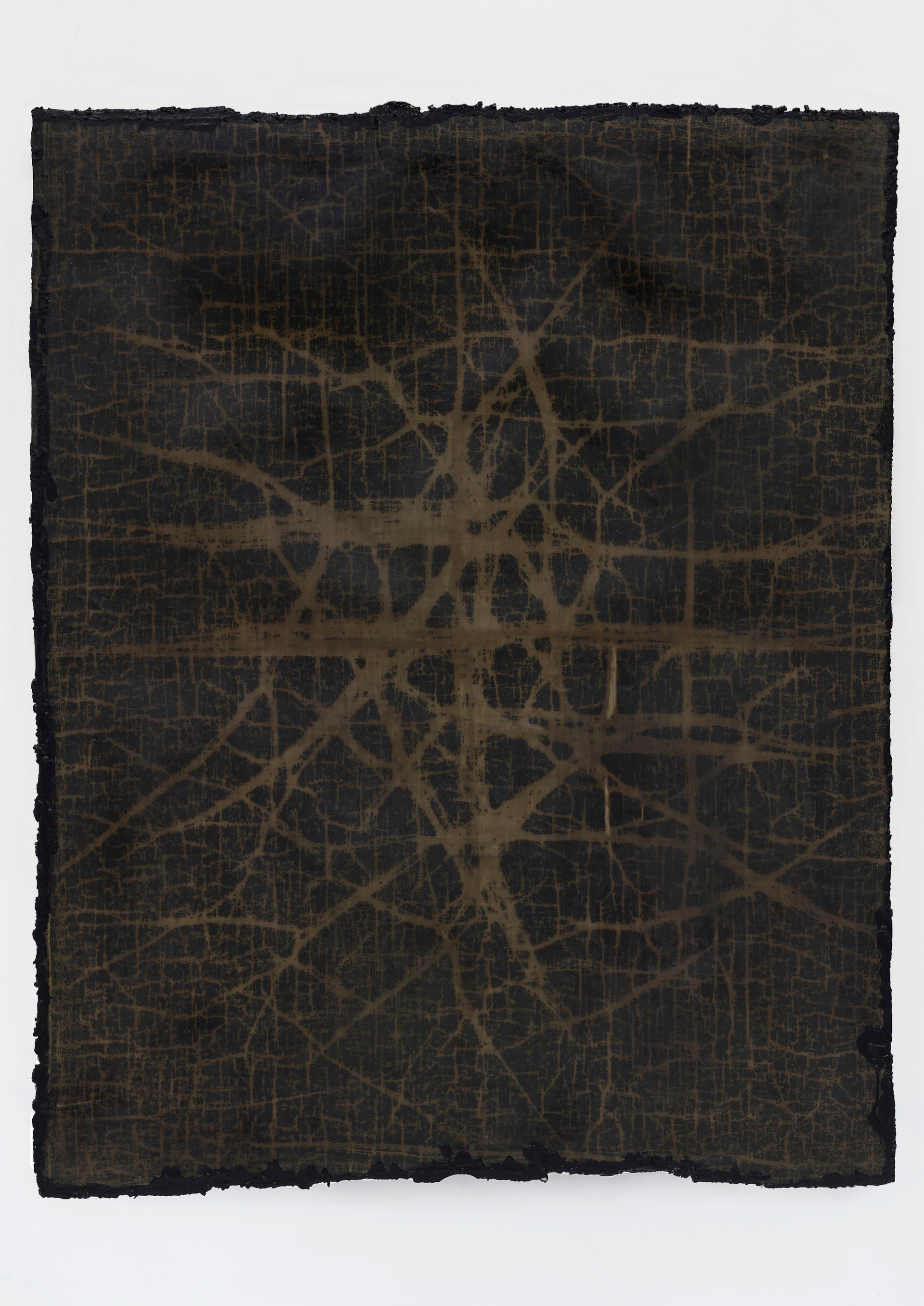 Helmut Lang  network #2, 2019 Cotton, wax, resin, and tar on canvas  67 x 52 1/4 x 1 1/2 inches